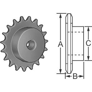 Steel Roller Chain Sprocket for #25 Pitch Chain - 16 Teeth
