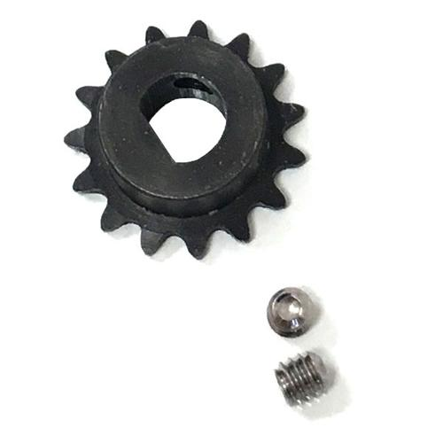 Steel D-Shaft Sprocket for #25 Pitch Chain - 15 Teeth